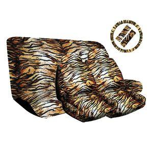 Beige Tan Animal Print Complete Car Seat Cover Full Set Std