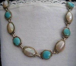 RARE  Carolyn Pollack Relios Sterling Turquoise Mabe Pearl Slogan