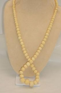 Vintage Carved Faux Ivory Ox Bone Graduated Bead Necklace 26