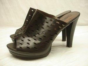 womens 8 5 M carlos santana shoes cut out mule platform brown peep toe