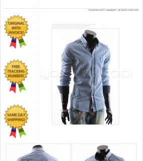 Youlookcool Mens Slim Fit Double Collar Blue White Striped Designer