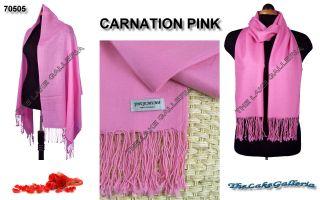 Carnation Pink Classic Soft 100 Real Pashmina Cashmere Wool Shawl Wrap