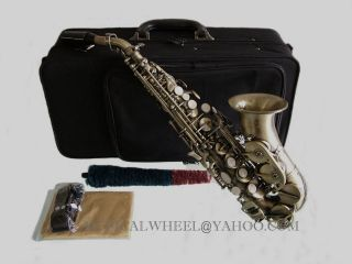 Curved Soprano Saxophone Sax Antique Brushed Finish New
