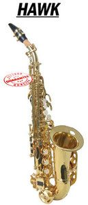 New Hawk Gold Color Curved Soprano Saxophone with Case WD S412