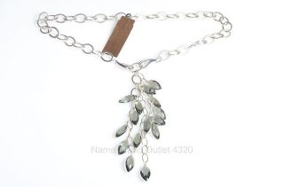 Carolee Lux Sterling Silver 925 Chain Link Faceted Bead Drop Necklace