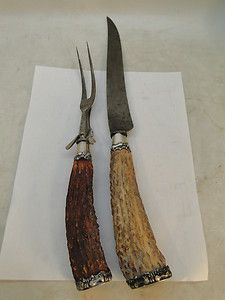 Antler Sterling Silver Carving Fork Knife Set McIntosh Heather