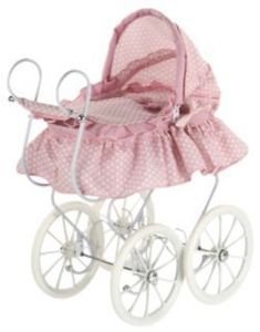 Victorian Baby DOLL PRAM Stroller Carriage Bedding Bed Crib 4 American