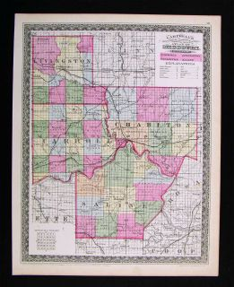 1872 Missouri County Map Arrow Rock Carroll Chariton Livingston Saline