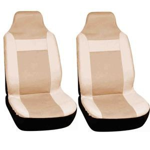 2pc Car Seat Covers Set Solid Tan High Back Buckets Integrated Racing