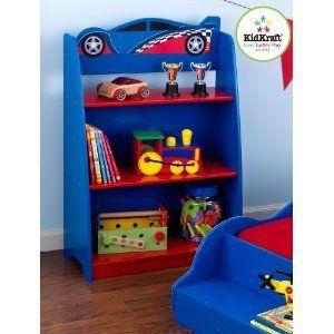 Racecar Wooden Bookcase Boys Room Race Car Book Shelf Painted Wood
