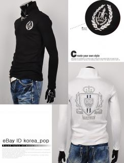 Korea Pop Mens Casual Shirts Slim Fit Long Sleeve Tattoo Collar Printe