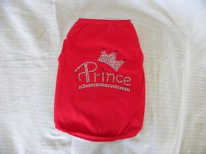 Dog Cat Clothing Apparel Shirt Tee Red Prince Crown Bling New XS s M