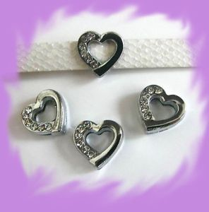 50pc 8mm Heart Slide Charm Fit Pet Dog Cat Collar Band