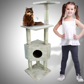 Deluxe 53 Cat Tower Tree Condo Scratcher Furniture Kitten House Beige