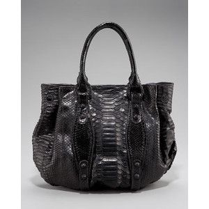 Carlos Falchi Black Python Pouf Tote Messenger Bag $2995