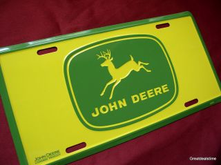 John Deere Light Green Logo Car Tag Metal License Plate New