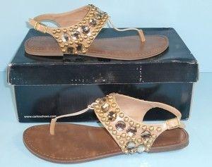 Carlos Santana 8 M Sheila Camel Beige T Strap Thongs Sandals Womens