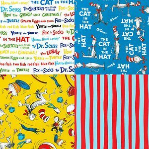 Dr Seuss Cat in The Hat Fabric by The Yard for Robert Kaufman 100