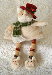 New Folk Art Country Cat Kitten in Red Top Hat Scarf Cat Slippers
