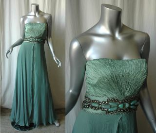 Carlos Miele Strapless Jewel Crystal Silk Gown Dress 40