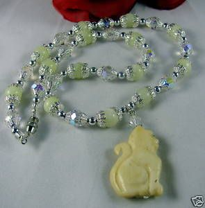 Artisan New Jade Crystal Cat Necklace Cat Rescue