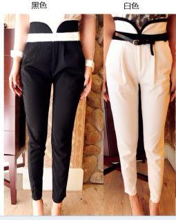 White Black Elegant Women Formal High Waist Office Lady Suit Pants