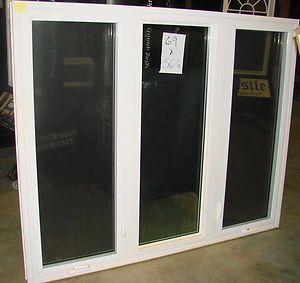 Large Three Section Casement Vinyl Living Room Window 69 w x 56 H New