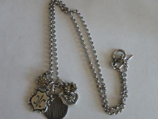 Catherine Popesco Silver Amour Fleur de Lis Crystal Charm Necklace