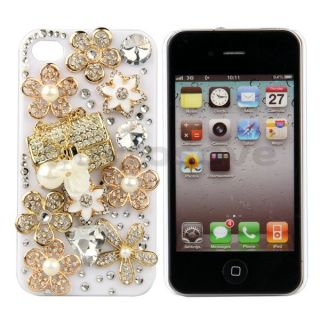 Diamond Pearl Flower Handbag Hard Case Cover for iPhone 4 4G 4S