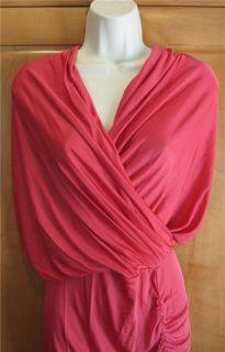 Catherine Malandrino Silk Rayon Coral Jersey Knit Draped Dress P New $