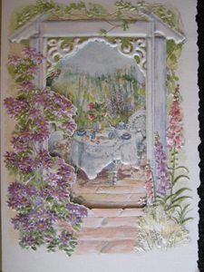 CAROL WILSON FINE ARTS GET WELL SOON GREETING CARD GARDEN SCENE