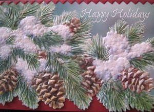 CAROL WILSON FINE ARTS CHRISTMAS GREETING CARD PINECONES EMBOSSED