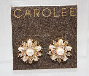 CAROLEE JEWELRY ELEGANT WHITE PEARL CZ SCREW BACK EARRINGS, FREE US