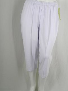 Cathy Daniels White Pull on Capri Pants Stretch Knit Elastic Waist New