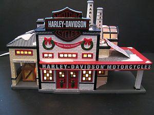 Snow Village Harley Davidson Manufacturing 3 rtd Harley Davidson Sign