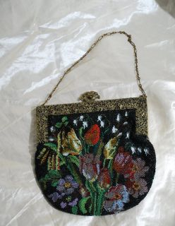 Antique Beaded Purse Colorful Seed Beads in Tulip Garden Design