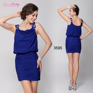 Ruffles Sapphire Blue Square Neckline Casual Dress 03595 AU Size 10