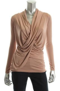 Casual Couture New Pink Stretch Jersey Long Sleeve Cowl Neck Blouse