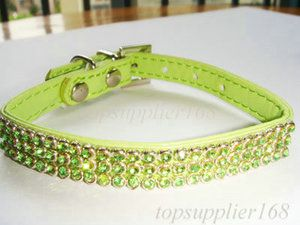 Bling green dog cat puppy supplies pets gift 3 row rhinestone collar 6