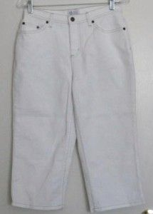 Denim & Co. Modern Waist Stretch Denim Capris WHITE DENIM WASH 8
