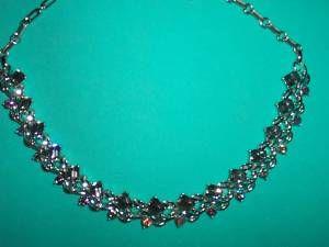 Vintage Lisner Emerald Cut Crystal Rhinestone Necklace