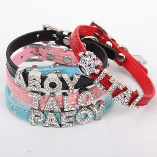 Personalized Leather Collars for Cat Small Dog with Rhinestone Letters