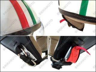Casco Jet Retro Bianco con Inserti in Cuoio Tricolore Italia Vintage