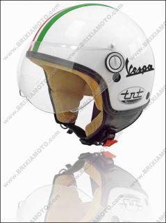 Casco Moto Scooter Demi Jet Omologato Visiera Italia Tricolore Vespa