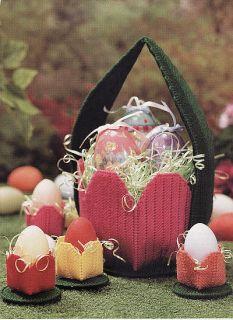 Plastic Canvas Easter Basket Egg Cups Magnet Pattern