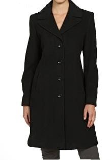 NWT Larry Levine Size 4 Black Wool Notch Collar Walker NEW Coat