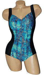 Carol Wior Shape Detector Blue Hawaii Hourglass Shirred Front 215517