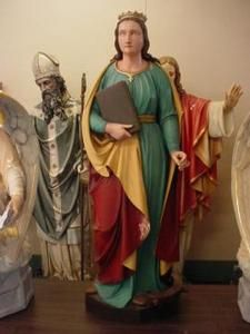 Antique Church Statue of St Catherine of Alexandria Carved Wood