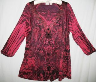 Cato XL Rose Pink Floral Sublimation Tunic Top Blouse Shirt New Extra