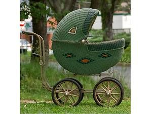 Green Wicker Baby Doll Stroller Carriage Circa 1900S